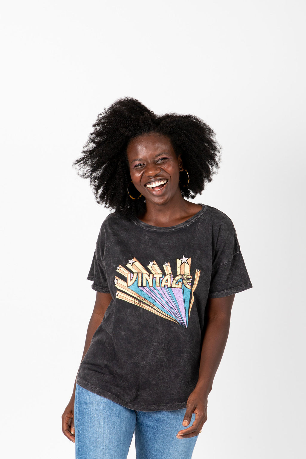 The Vintage Band Tee in Charcoal, studio shoot; front view