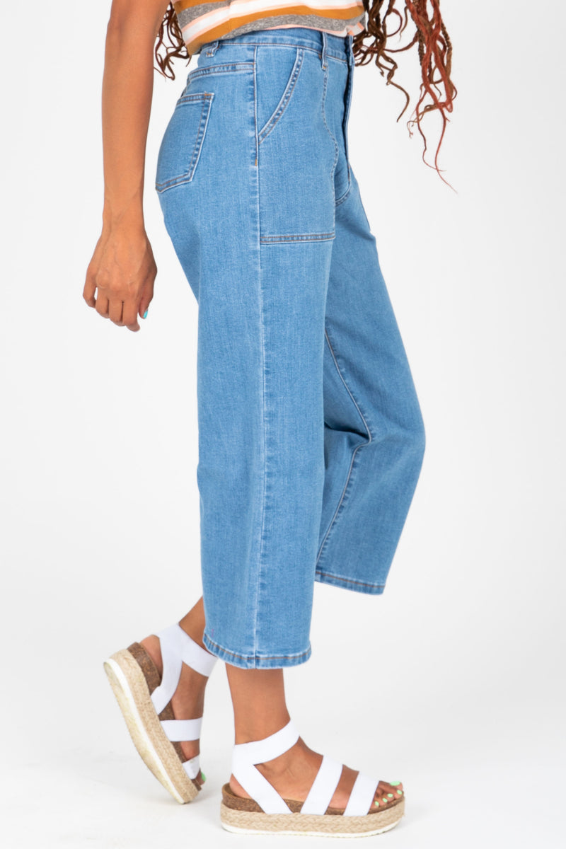 The Wyatt Wide Leg Denim Trouser, studio shoot; side view