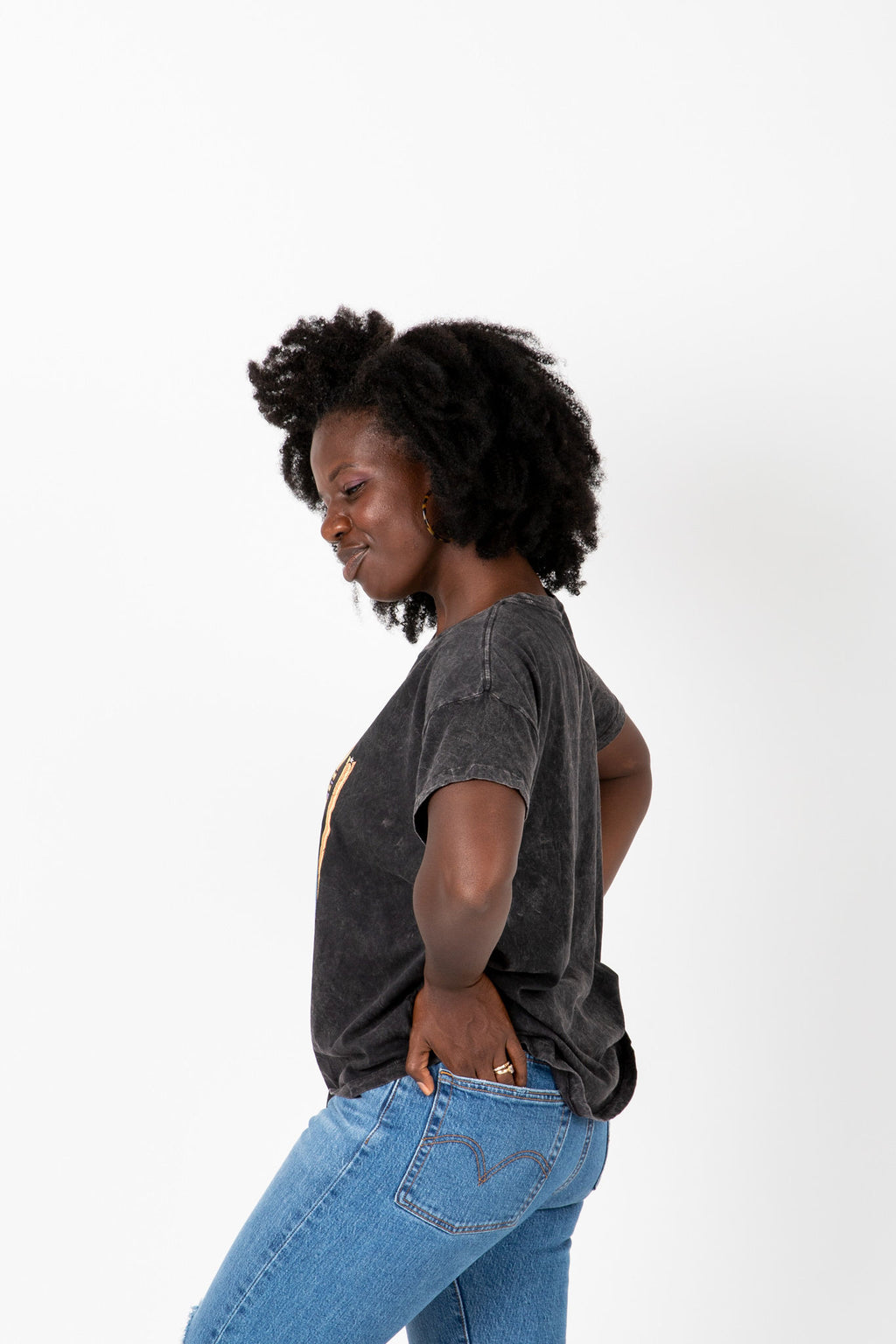 The Vintage Band Tee in Charcoal, studio shoot; side view