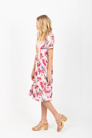 Piper & Scoot: The Puff Floral Pleated Dress in Rose