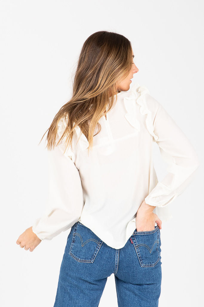 The Dunn Ruffle Detail Blouse in White