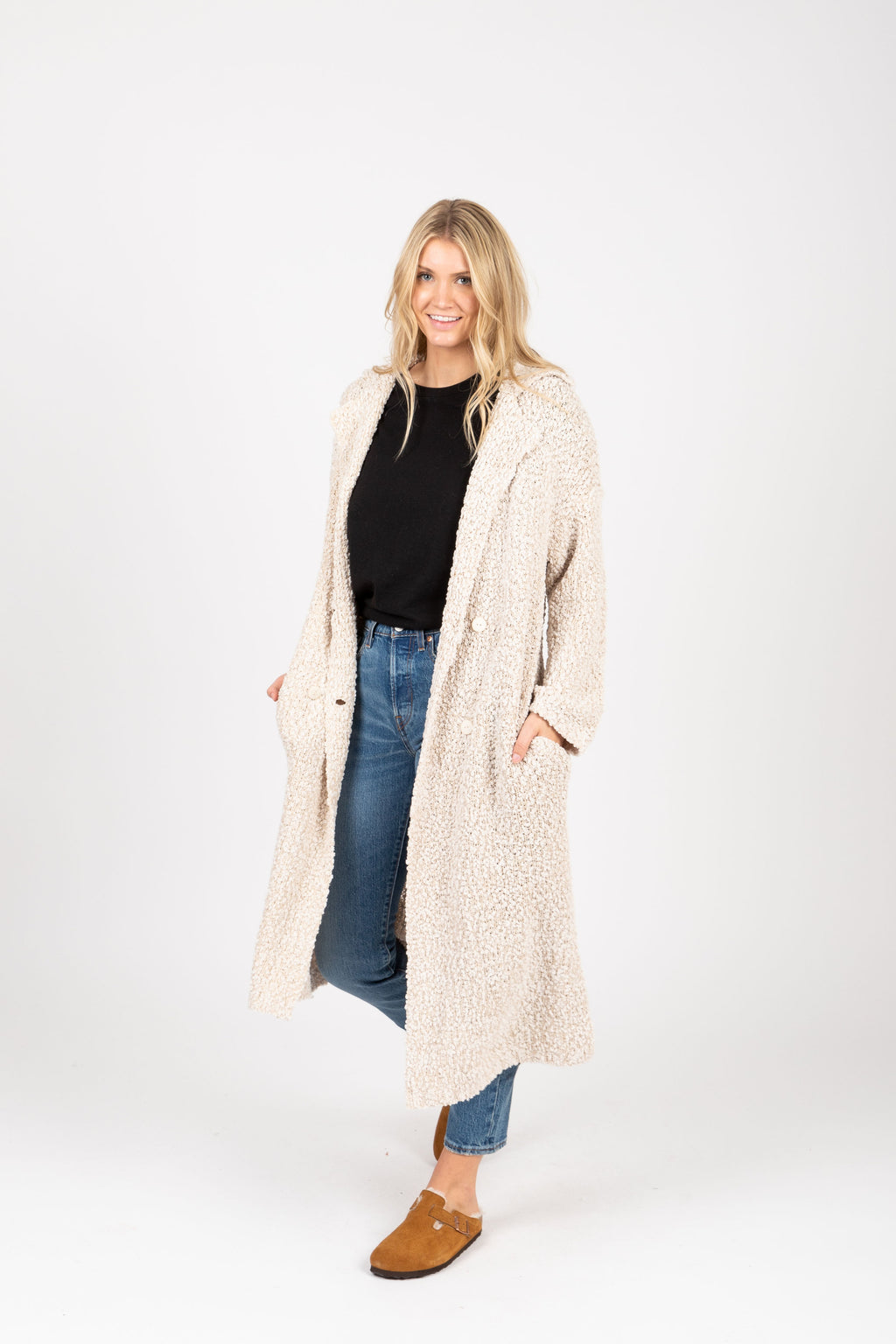 The Essence Lapel Sweater Cardigan in Cream, studio shoot; front view
