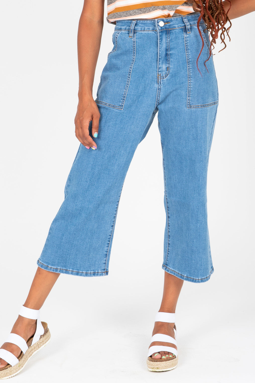 The Wyatt Wide Leg Denim Trouser, studio shoot; front view