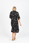 The Posie Sketch Button Dress in Black