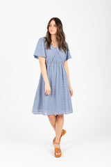 The Sakura Swiss Dot Wrap Dress in Dusty Blue