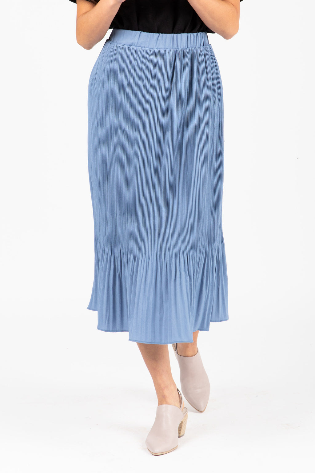The Marley Pleated Midi Skirt in Periwinkle, studio shoot; front view