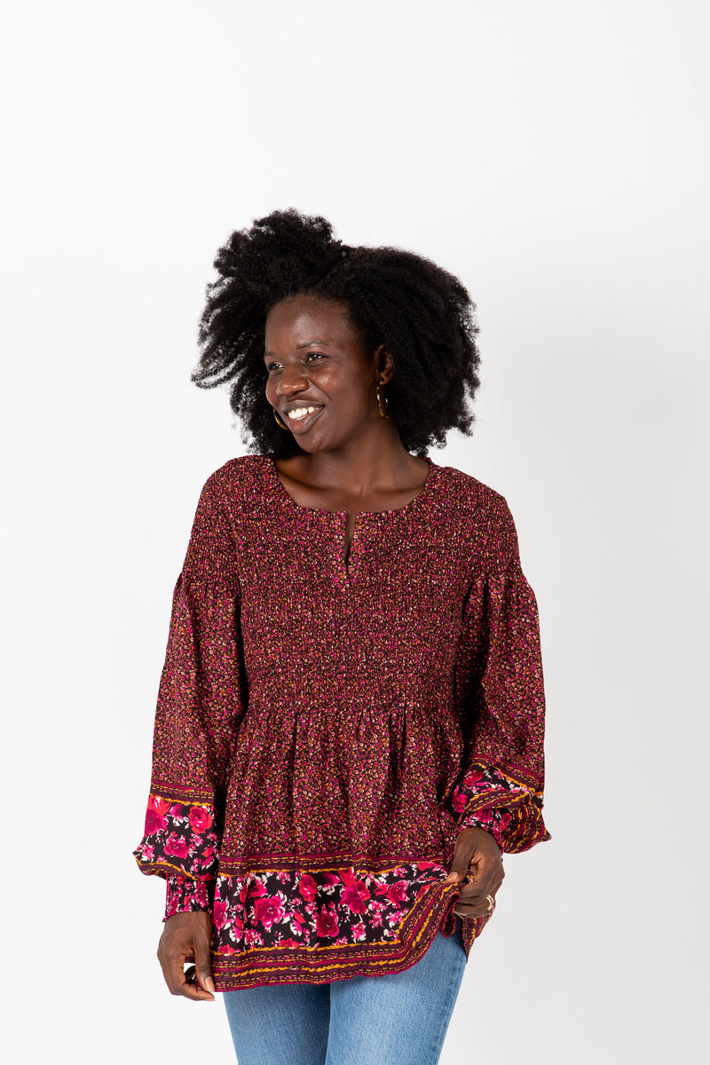 The Ronnie Patterned Peplum Blouse in Maroon, studio shoot; front view