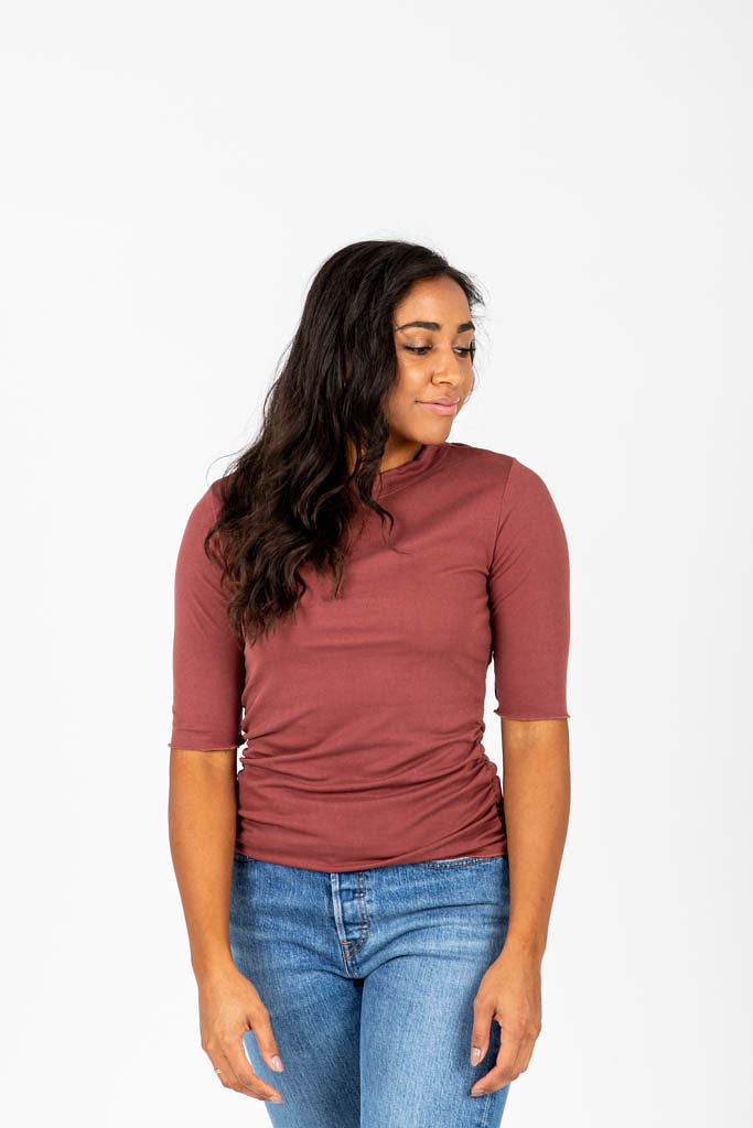 The Wright Tissue Mock Neck in Brick, studio shoot; front view