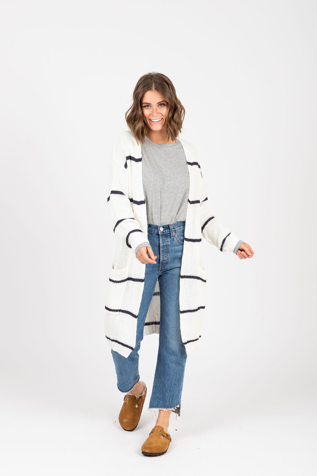 The Gavin Striped Cardigan in Navy, studio shoot; front view