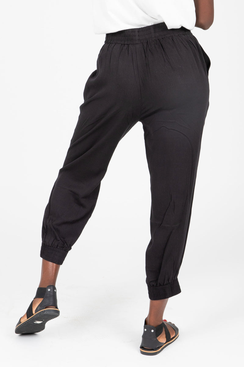 The Axel Jogger Trouser in Black, studio shoot; back view