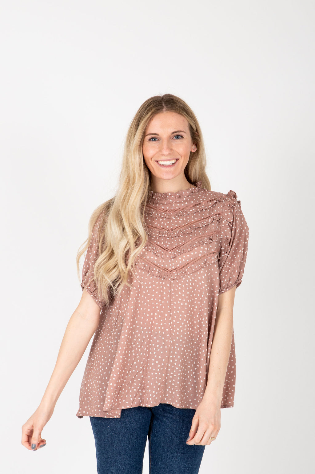 The Myra Lace Patterned Blouse in Mauve, studio shoot; front view