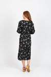 The Carla Floral Dot Dress in Black