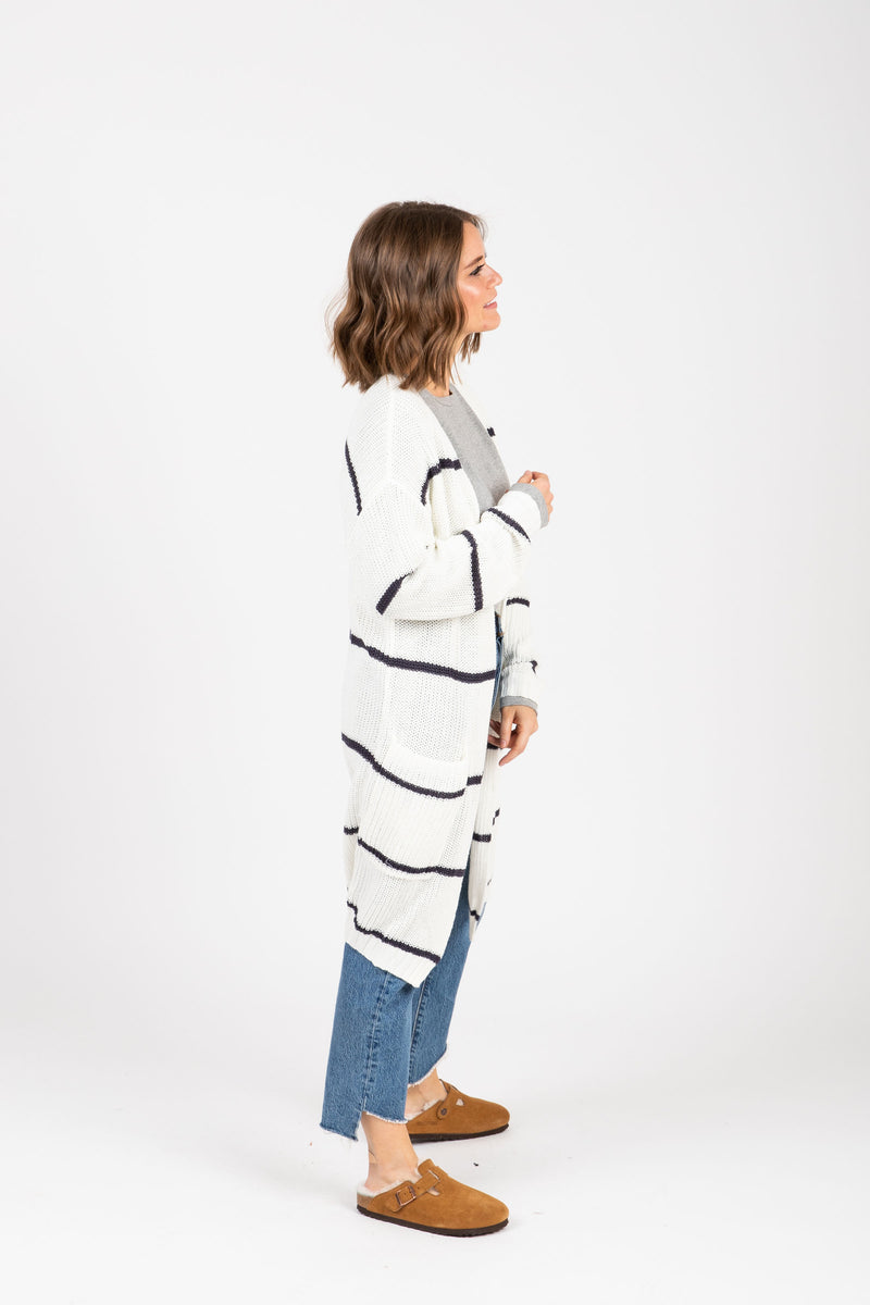 The Gavin Striped Cardigan in Navy, studio shoot; side view