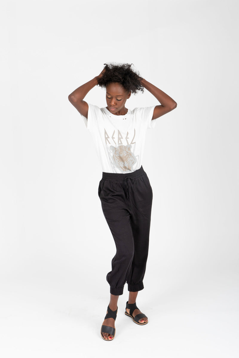 The Axel Jogger Trouser in Black, studio shoot; front view