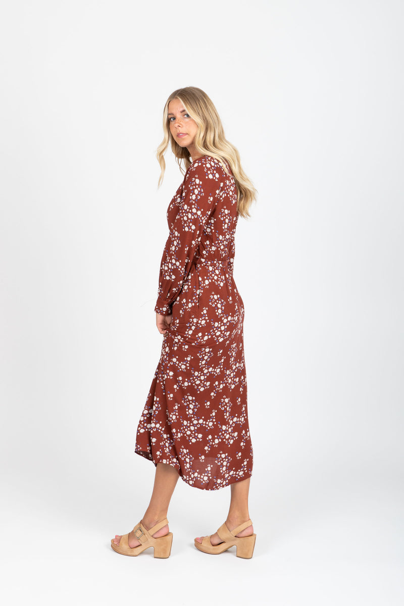 The Axis Floral Belted Dress in Maroon