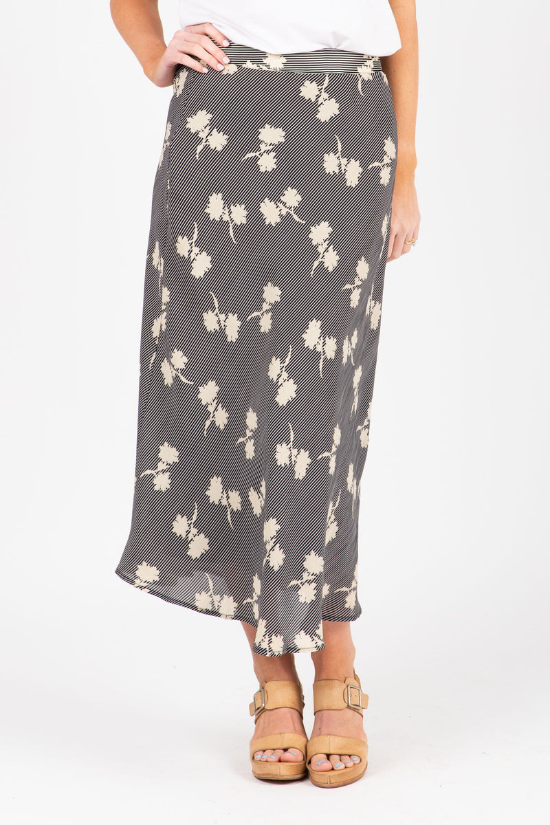 The Eason Patterned Silk Skirt in Black, studio shoot; front view