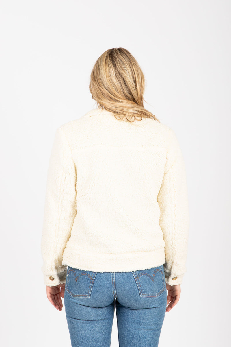 The Shashi Cozy Button Jacket in Cream, studio shoot; back view