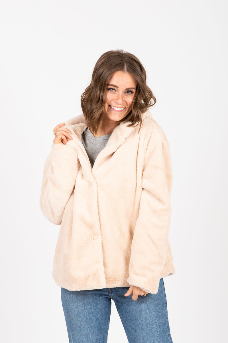 The Swell Furry Hooded Cardigan in Rose, studio shoot; front view