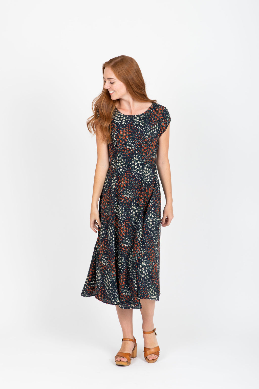 The Achiever Floral Midi Dress in Navy