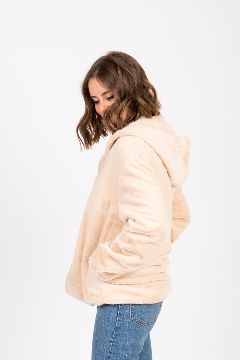 The Swell Furry Hooded Cardigan in Rose, studio shoot; side view