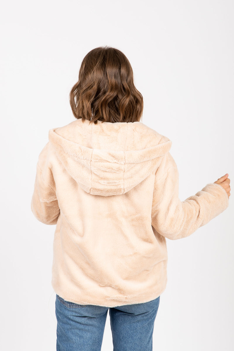 The Swell Furry Hooded Cardigan in Rose, studio shoot; back view
