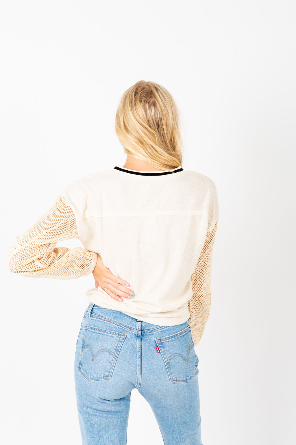 The Robinson Contrast Sleeve Blouse in Ivory, studio shoot; back view