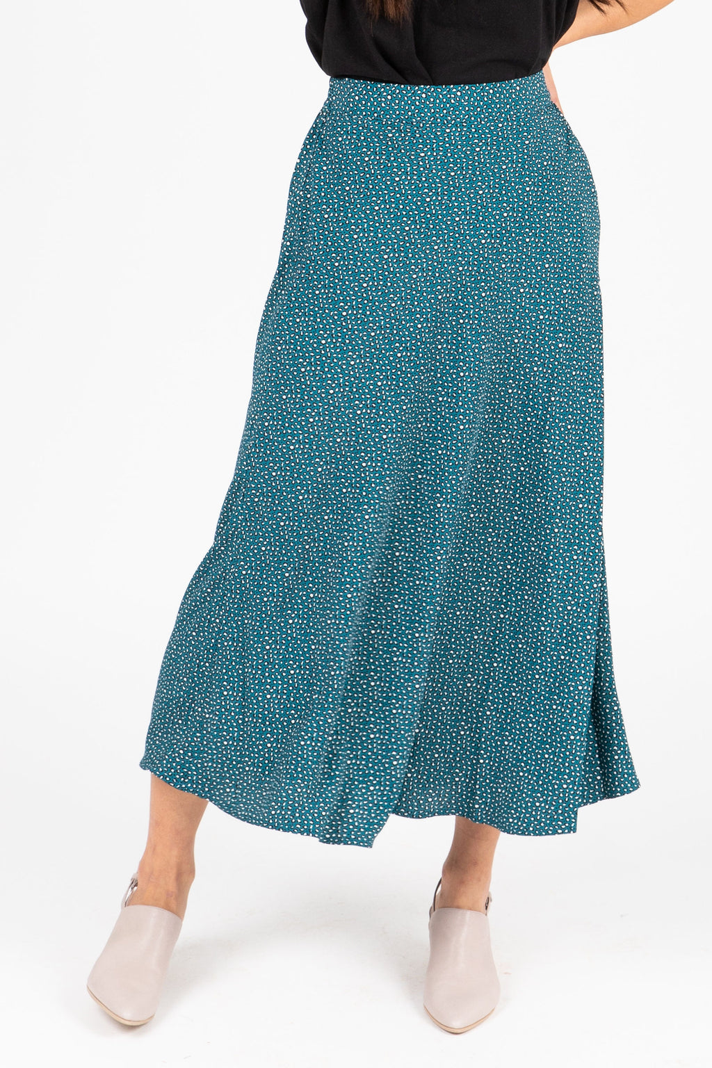 The Avi Patterned Midi Skirt in Blue, studio shoot; front view