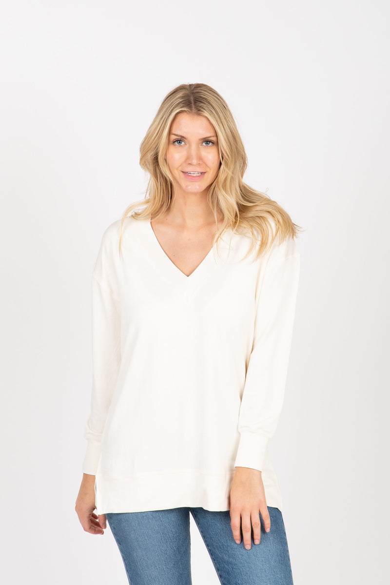 The Wendler V-Neck Casual Sweater in Cream, studio shoot; front view