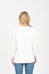 The Wendler V-Neck Casual Sweater in Cream, studio shoot; back view