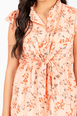 Piper & Scoot: The Appeal Floral Knot Dress in Peach