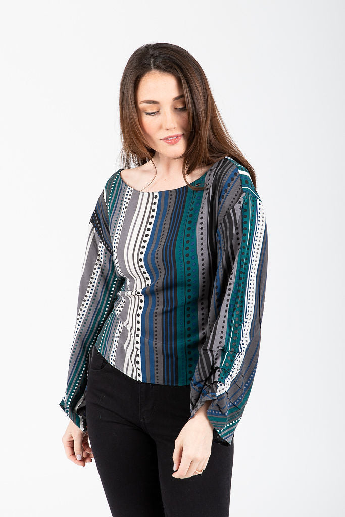 The Malika Patterned Bow Blouse in Green