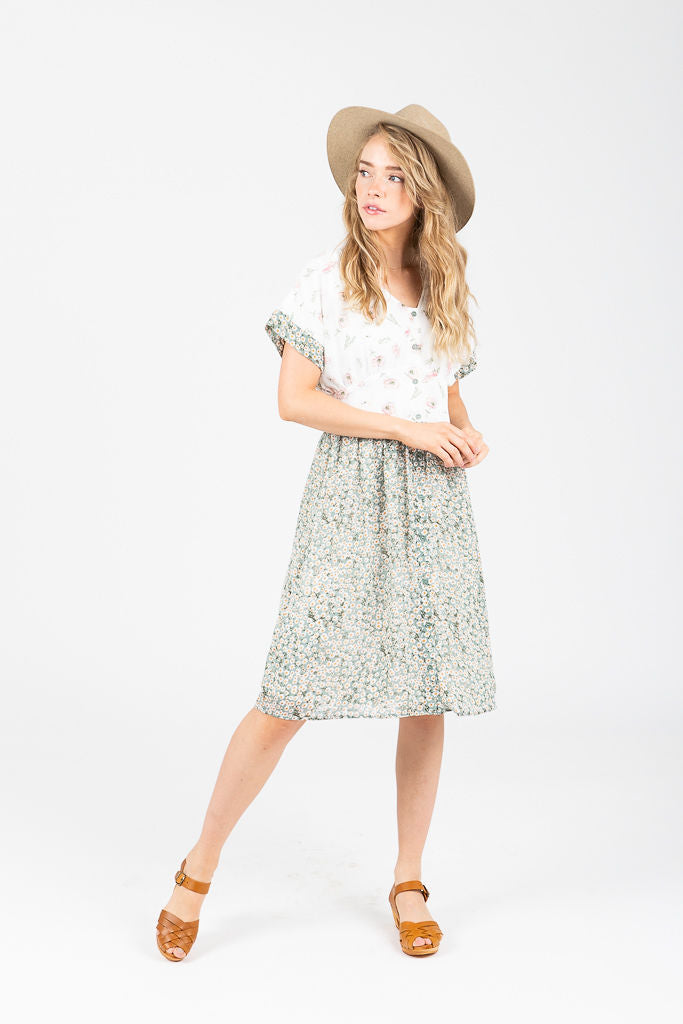 The Robin Floral Contrast Dress in Sage
