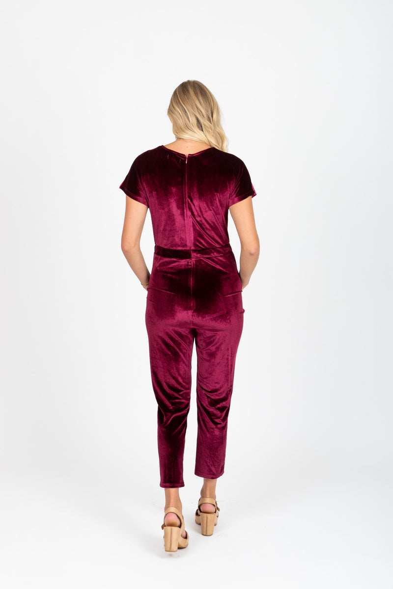 Piper & Scoot: The Bianca Cinch Velvet Jumpsuit in Burgundy, studio shoot; back view