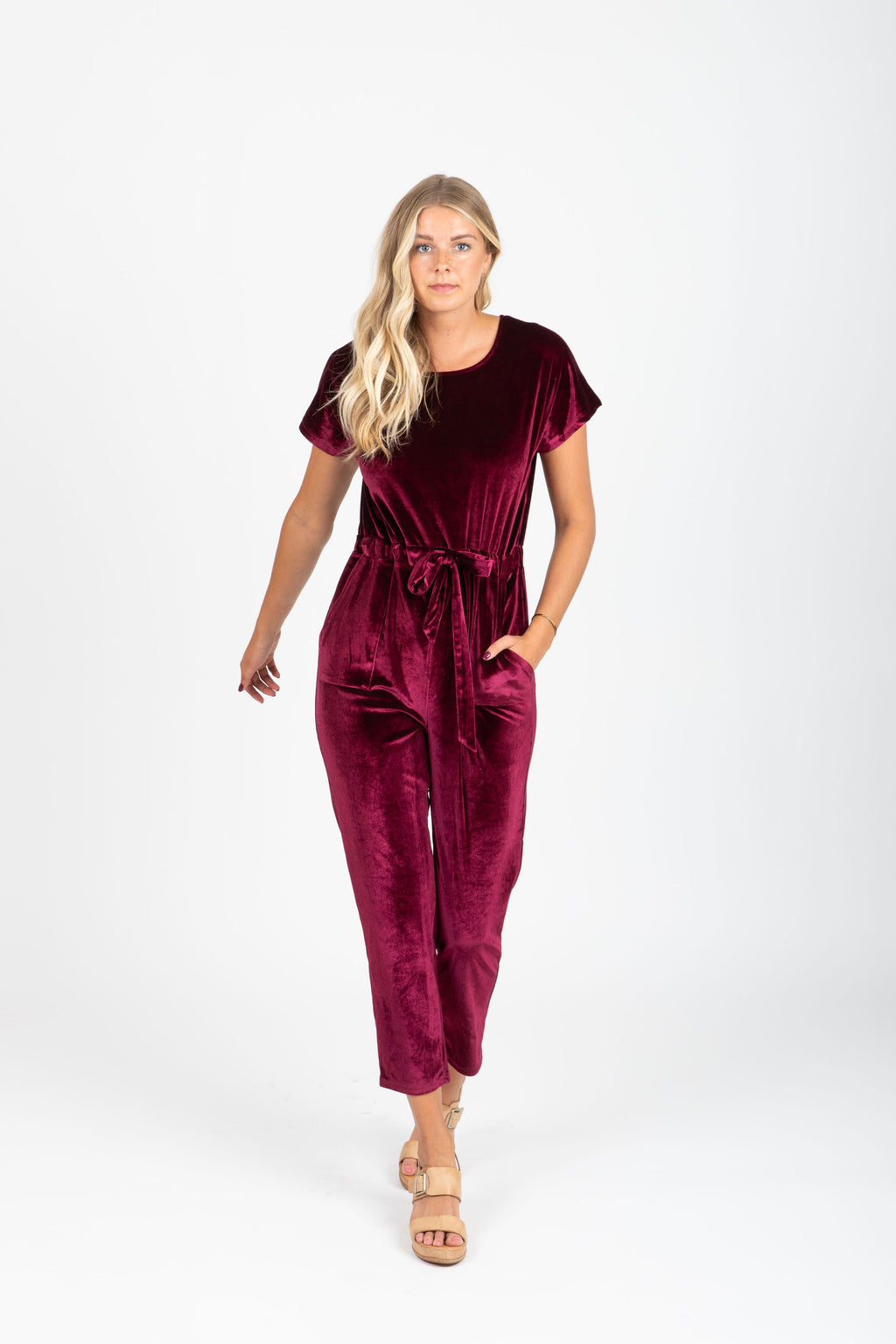 Piper & Scoot: The Bianca Cinch Velvet Jumpsuit in Burgundy, studio shoot; front view