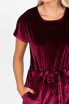 Piper & Scoot: The Bianca Cinch Velvet Jumpsuit in Burgundy, studio shoot; closer up front view