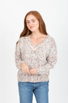 The Darby Crochet Knit Cardigan in Steel Blue