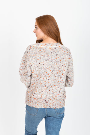 The Adept Speckled V-Neck Sweater in Cream