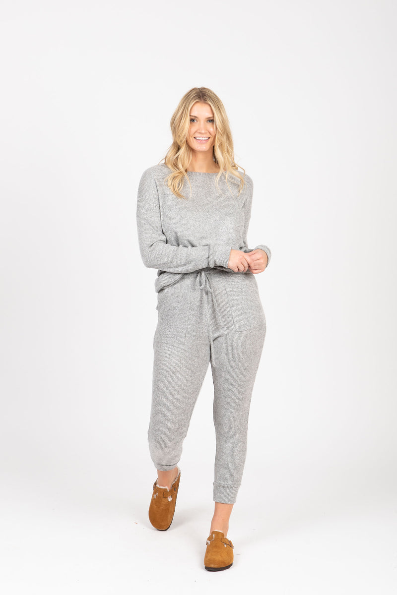Piper & Scoot: The Sleep PJ Ribbed Pant in Heather Grey