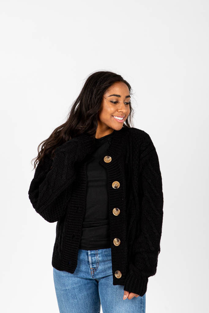 The Rupert Button Thick Cardigan in Black, studio shoot; front view