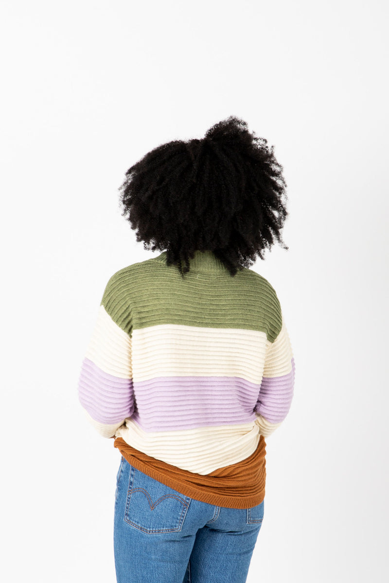 The Daphne Striped Knit in Olive + Lilac