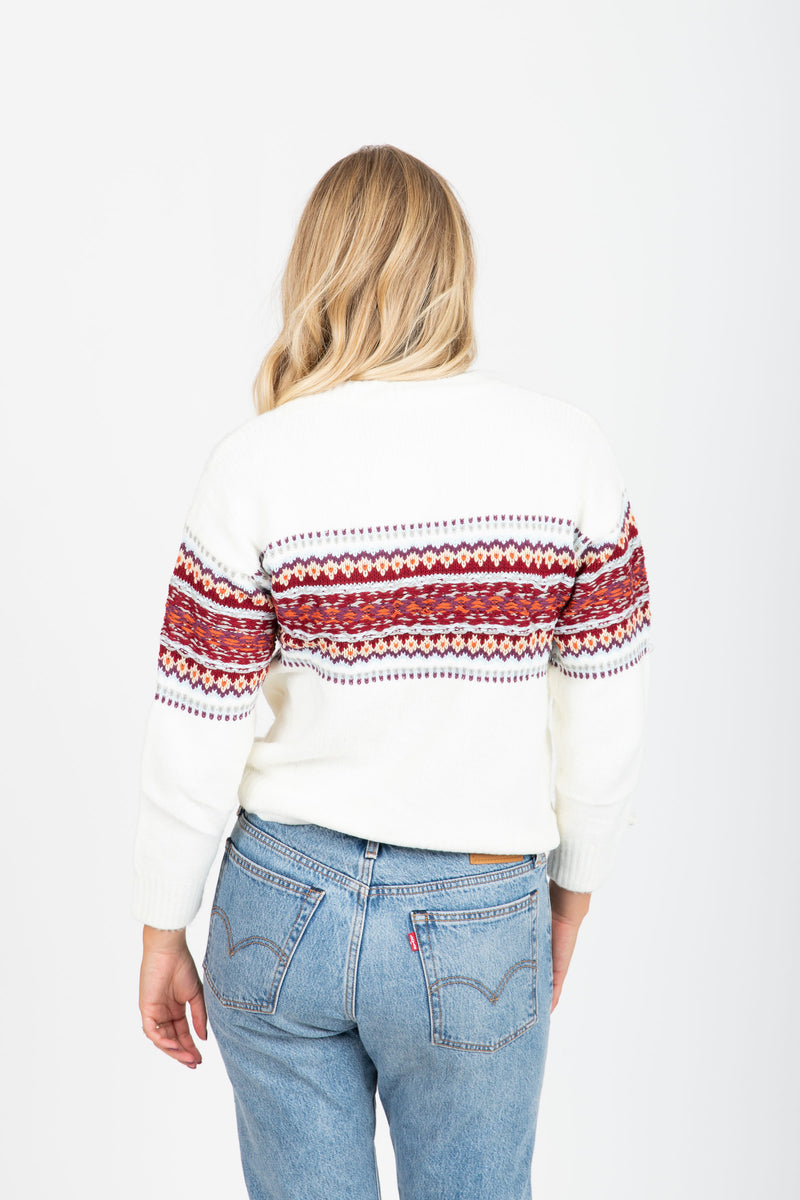 The Madras Patterned Cozy Sweater in Ivory