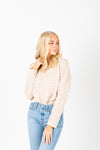 The Amy Striped Slit Blouse in Beige