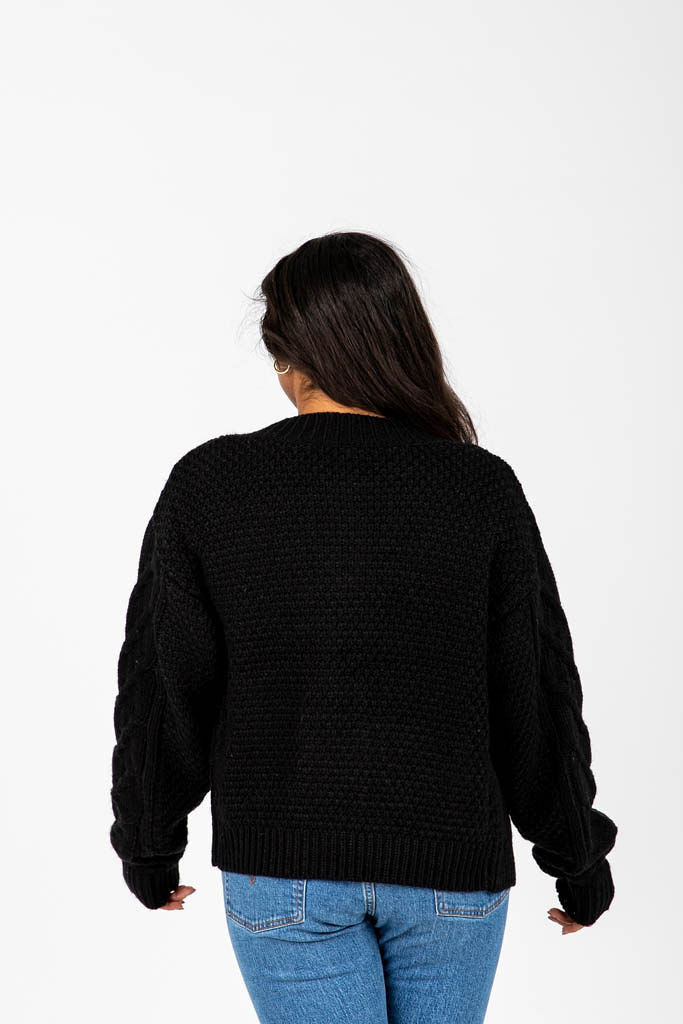 The Rupert Button Thick Cardigan in Black, studio shoot; back view