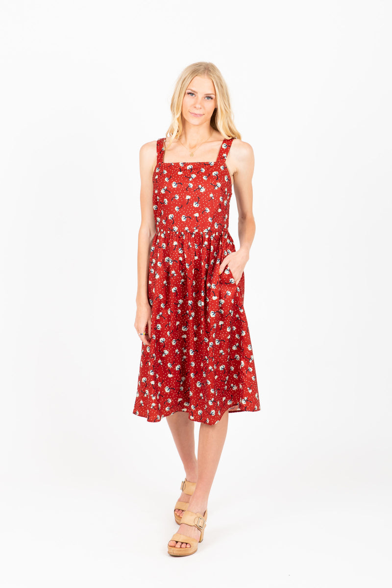 Piper & Scoot: The Dunford Floral Jumper Dress in Red
