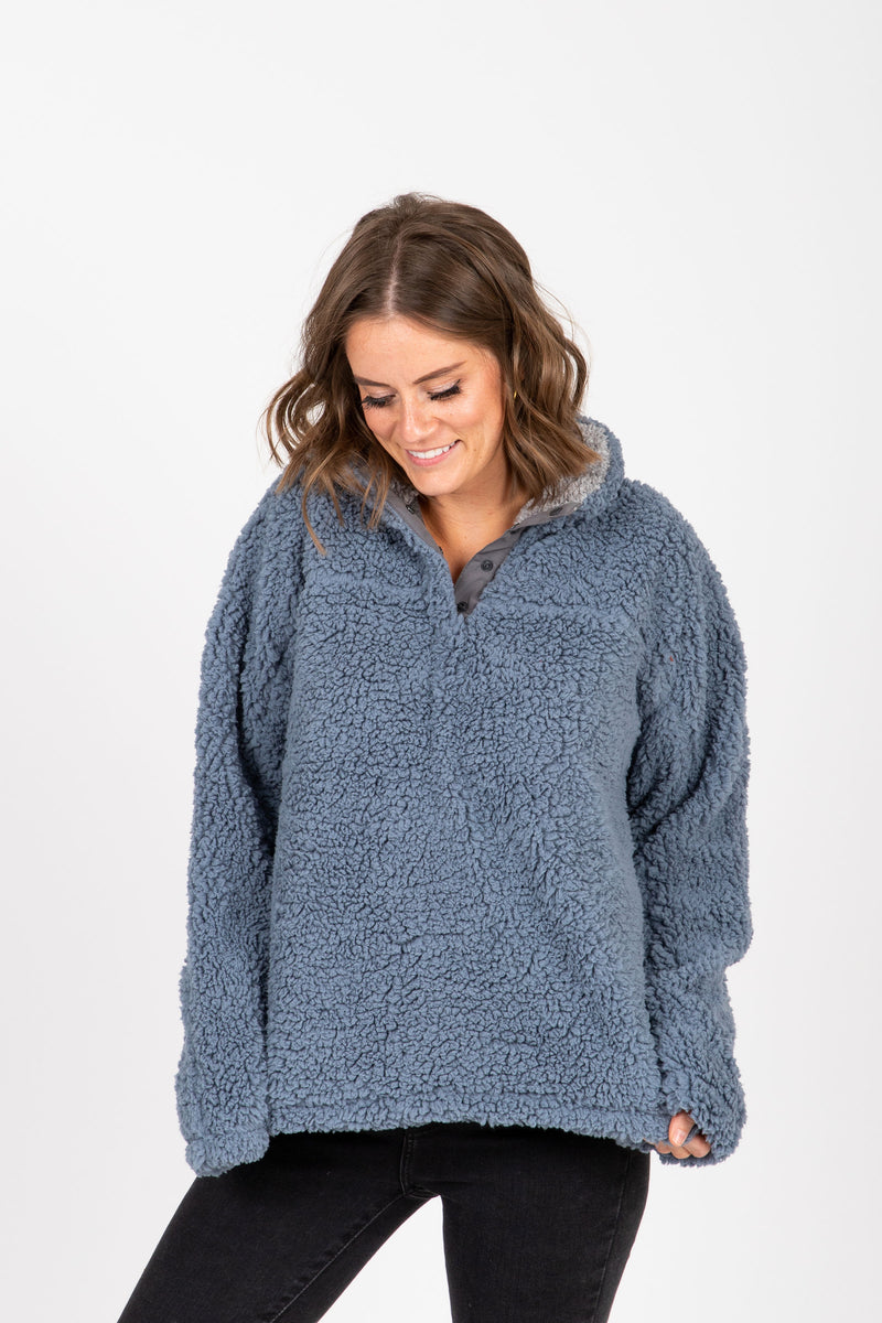 The Daydream Pullover in Ashley Blue + Heather Grey, studio shoot; front view