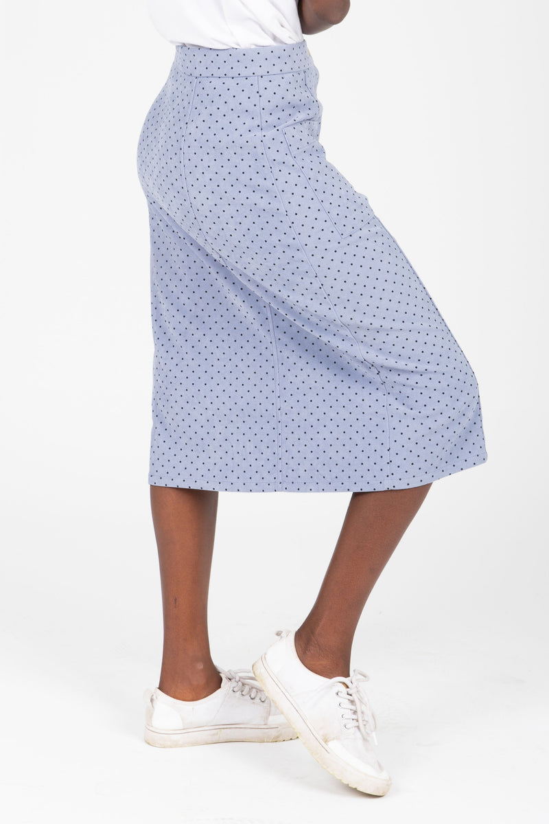 The Jason Dot Button Skirt in Dusty Blue, studio shoot; side view