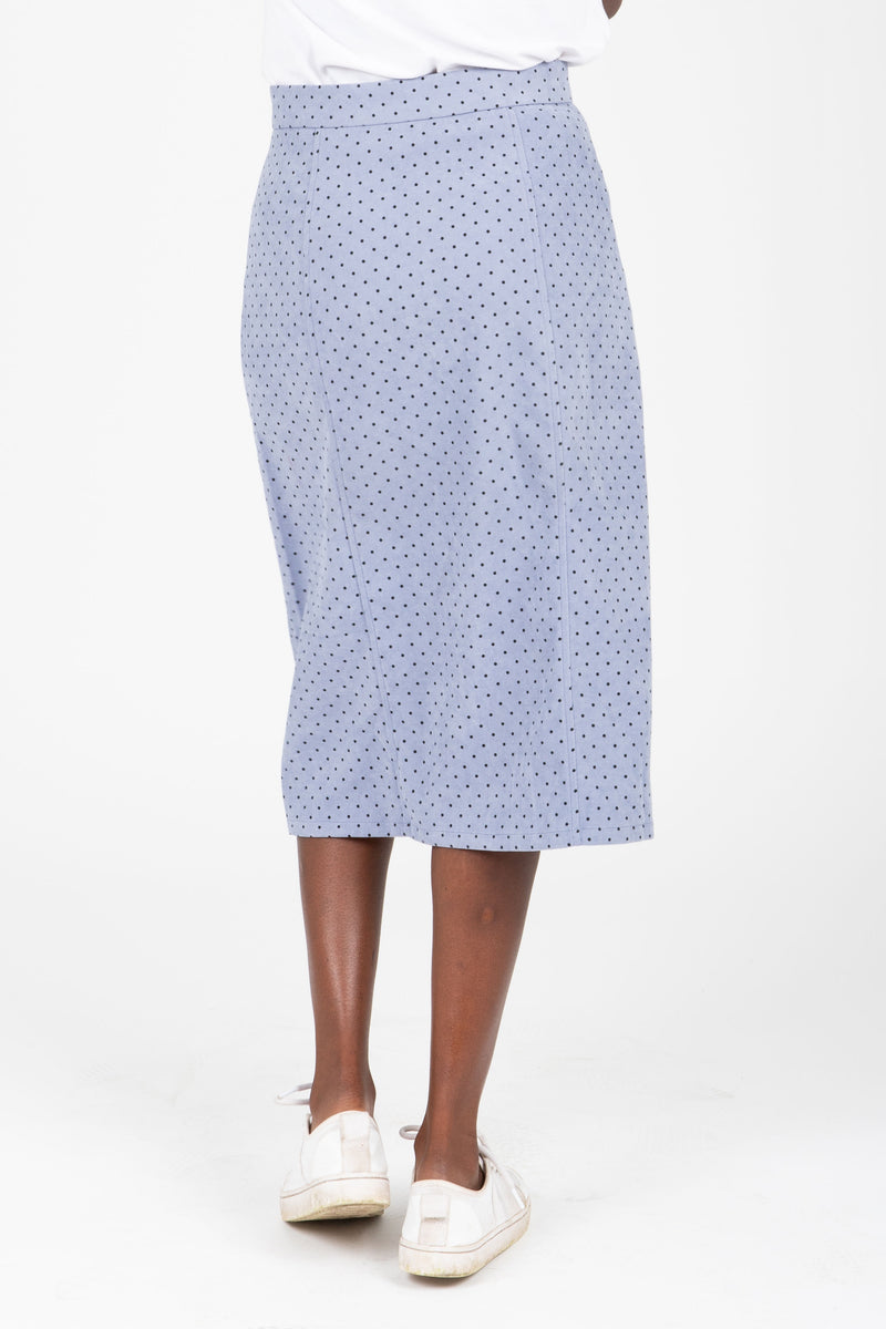 The Jason Dot Button Skirt in Dusty Blue, studio shoot; back view