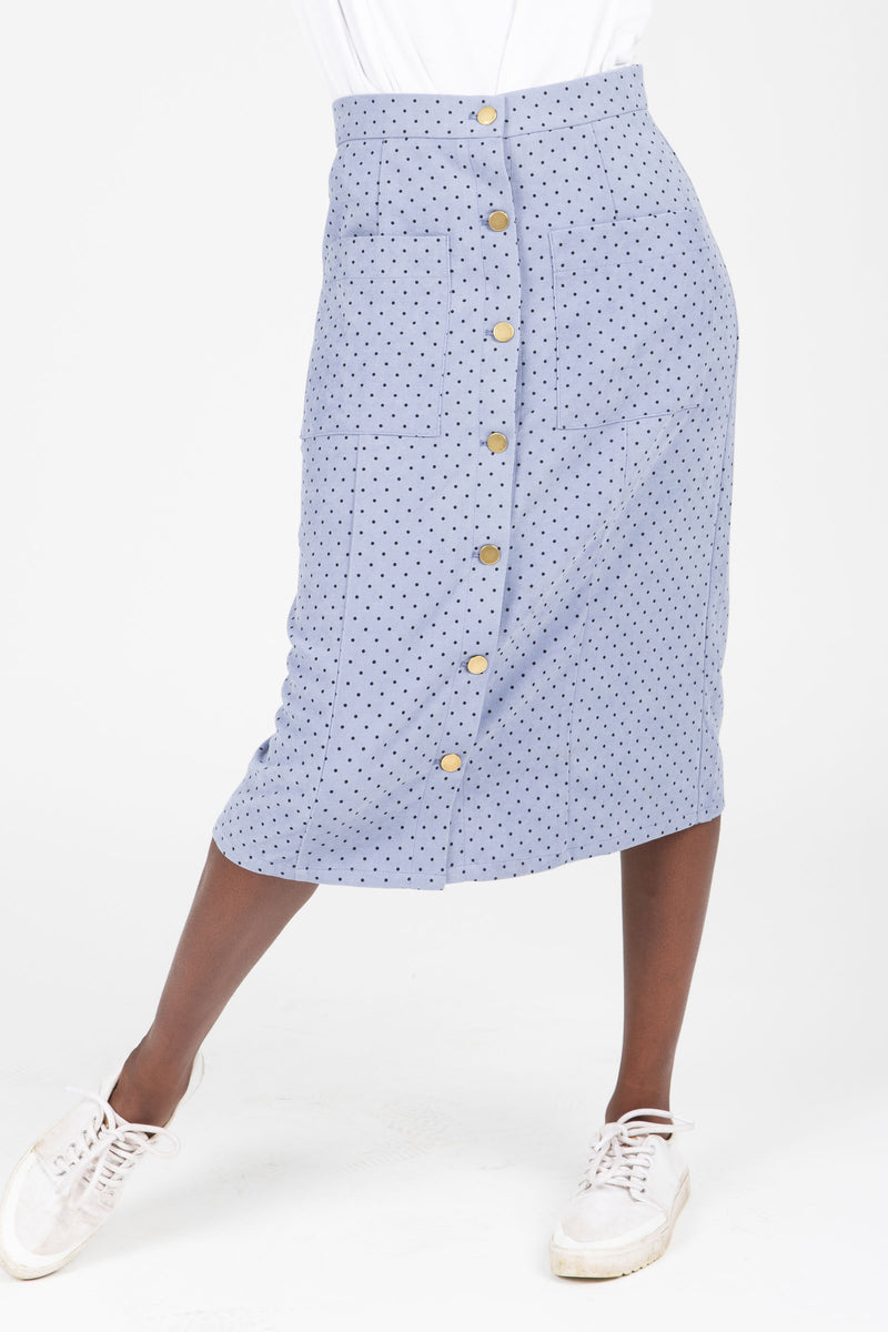 The Jason Dot Button Skirt in Dusty Blue, studio shoot; front view