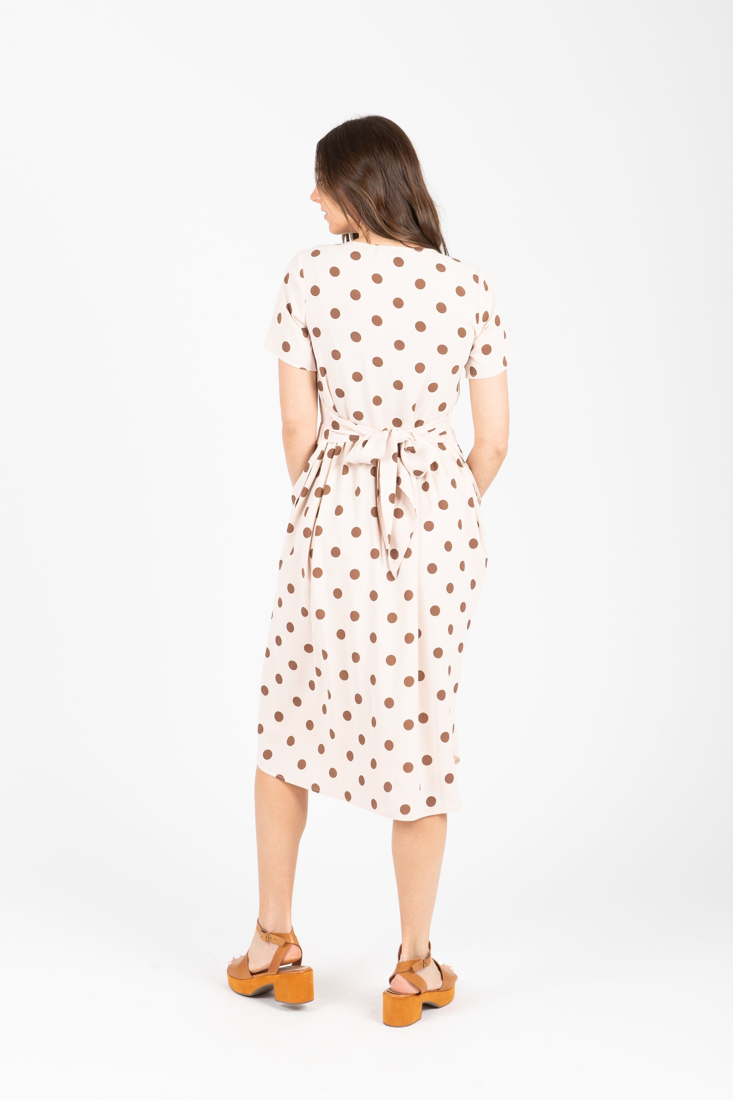 The Goldie Patterned Midi Dress in Cream