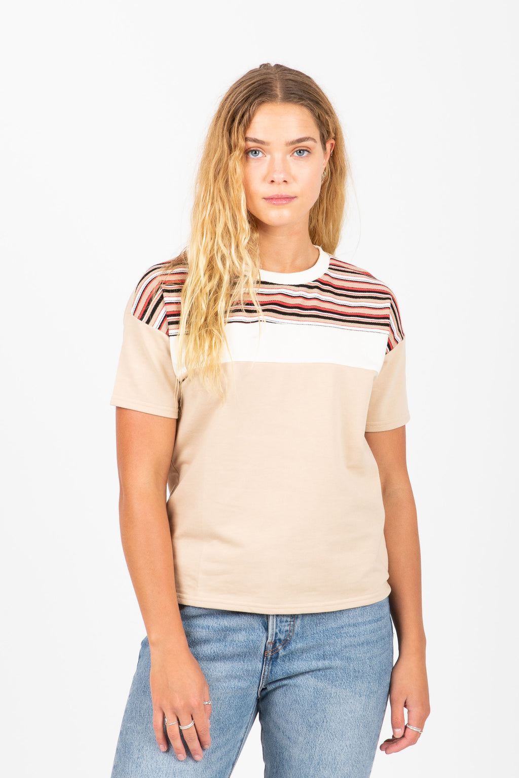The Hunt Striped Block Tee in Natural